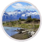 Following The Athabasca River Round Beach Towel
