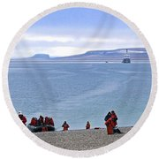Following The Footsteps Of  Roald Amundsen.. Round Beach Towel