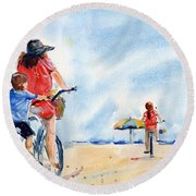 Following The Leader Round Beach Towel