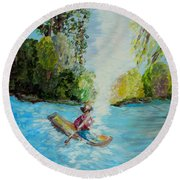 Following The Light Round Beach Towel