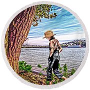 Following The River Round Beach Towel