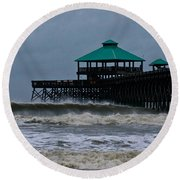 Folly Beach Pier During Sandy Round Beach Towel