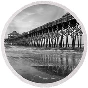 Folly Beach Pier In Black And White Round Beach Towel