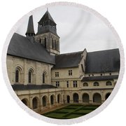 Fontevraud Abbey Courtyard -  France Round Beach Towel