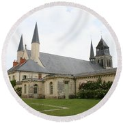 Fontevraud Abbey -  France Round Beach Towel