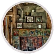 Fonthill Castle Bedroom Fireplace Round Beach Towel