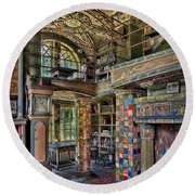 Fonthill Castle Library Room Round Beach Towel