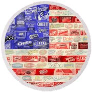 Food Advertising Flag Round Beach Towel by Gary Grayson