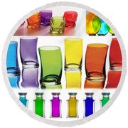 Food Coloring Ensemble Wide-rainbow Theme Round Beach Towel