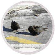 Food Critics Round Beach Towel by Sheri Lauren Schmidt