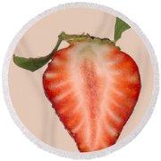 Food - Fruit - Slice Of Strawberry Round Beach Towel