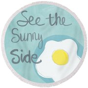 Food- Kitchen Art- Eggs- Sunny Side Up Round Beach Towel by Linda Woods