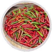 Food Market With Fresh Chili Peppers Round Beach Towel