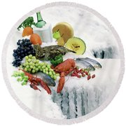 Food On Ice Round Beach Towel