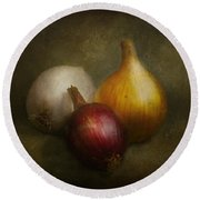 Food - Onions - Onions  Round Beach Towel by Mike Savad