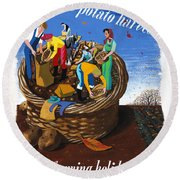 Food Production Lend A Hand With The Potato Harvest Round Beach Towel