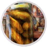 Food - Vegetable - A Jar Of Pickles Round Beach Towel