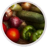 Food - Vegetables - Onions Tomatoes Peppers And Cucumbers Round Beach Towel