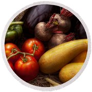 Food - Vegetables - Peppers Tomatoes Squash And Some Turnips Round Beach Towel by Mike Savad