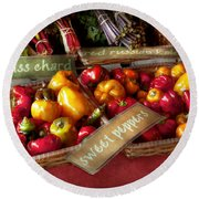Food - Vegetables - Sweet Peppers For Sale Round Beach Towel