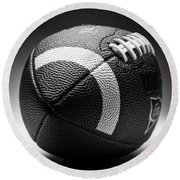 Football Black And White Round Beach Towel