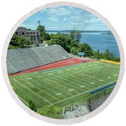 Football Field By The Bay Round Beach Towel