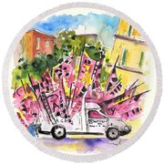 Football Flags From Palermo Round Beach Towel