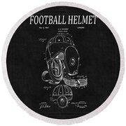 Football Helmet Patent 4 Round Beach Towel