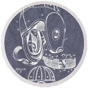 Football Helmet Patent Round Beach Towel