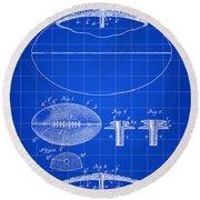 Football Patent 1902 - Blue Round Beach Towel