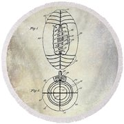 1925 Football Patent Drawing Round Beach Towel