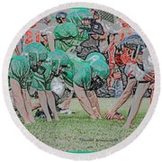 Football Playing Hard 3 Panel Composite Digital Art 01 Round Beach Towel
