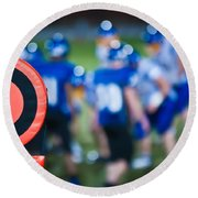 Football Sideline Marker Round Beach Towel