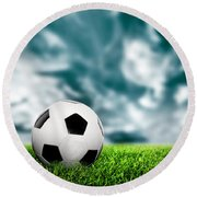 Football Soccer A Leather Ball On Grass Round Beach Towel