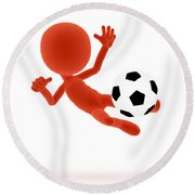 Football Soccer Shooting Jumping Pose Round Beach Towel