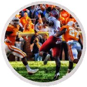 Football Time In Tennessee Round Beach Towel