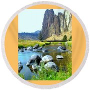 Footbridge At Smith Rock Round Beach Towel