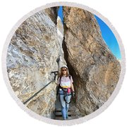Footbridge On Via Ferrata Round Beach Towel