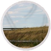 Footbridge Through The Dunes Round Beach Towel