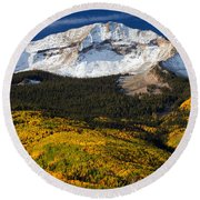 Foothills Of Gold Round Beach Towel by Darren  White
