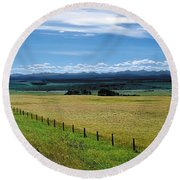 Foothills Of The Rockies Round Beach Towel