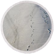 Footprints And Pawprints Round Beach Towel