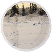 Footprints In Fresh Snow Round Beach Towel