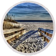 Footprint's In The Sand Round Beach Towel