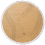 Footprints In The Sand Round Beach Towel by Pixel  Chimp