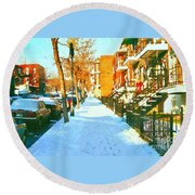 Footprints In The Snow Montreal Winter Street Scene Paintings Verdun Christmas  Memories  Round Beach Towel