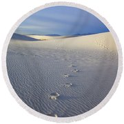 Footprints Round Beach Towel by Mike  Dawson