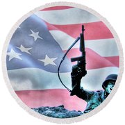 For Freedom Round Beach Towel