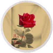 For My Love Vintage Valentine Greeting Card  Round Beach Towel