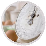 For The Baker Vintage Kitchen Scale  Round Beach Towel